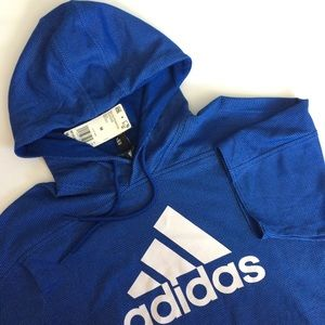 Men's Adidas short sleeve pullover sweatshirt hood